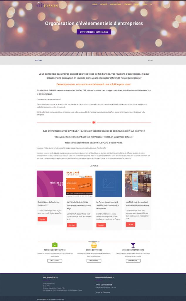 Site Wordpress SPH-EVENTS évènementiels d'entreprise